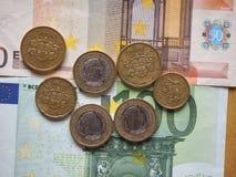 Монетки евро выпущенные Латвией Стоковое Изображение RF