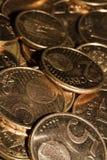Монетки евро в изоляции стоковые изображения rf