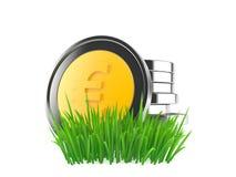 Монетки евро на траве иллюстрация штока