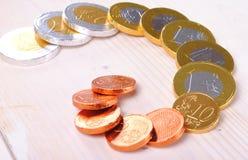 Монетки евро сделанные из шоколада Стоковые Фотографии RF