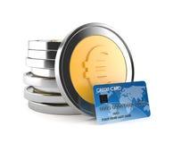 Монетки евро с кредитной карточкой иллюстрация вектора