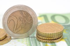 Монетки евро Стоковые Изображения