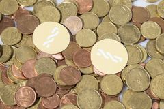 Монетки евро Cryptocurrency и состав монетки nxt Стоковые Изображения RF