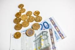 Монетки денег евро закрывают вверх Стоковое фото RF