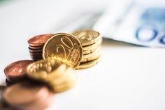 Монетки денег евро Стоковое Фото