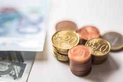 Монетки денег евро Стоковое Изображение RF