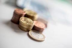 Монетки денег евро Стоковая Фотография