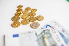 Монетки денег евро Стоковые Фотографии RF