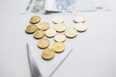 Монетки денег евро Стоковое Изображение