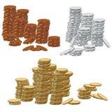 Монетки золота, серебра и бронзы Иллюстрация вектора