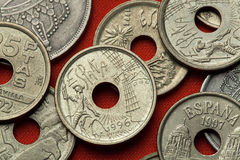 Монетки Испании Дон Quijote и ветрянка Стоковые Фотографии RF