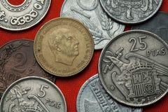 Монетки Испании Испанский диктатор Франсиско Франко стоковые изображения rf