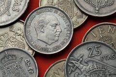 Монетки Испании Испанский диктатор Франсиско Франко стоковые фото