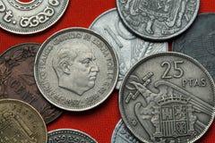 Монетки Испании Испанский диктатор Франсиско Франко стоковое изображение rf