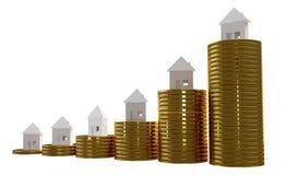 Монетки и дома 3d-illustration иллюстрация вектора