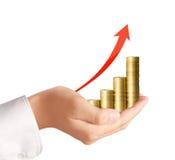 Монетки и диаграмма в руке Стоковое Фото