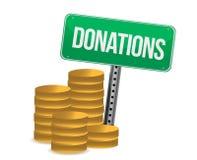 Монетки и конструкция иллюстрации знака пожертвований Стоковые Фото