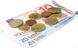 Монетки и кредитки евро Стоковое фото RF