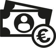 Монетки и примечание евро наличных денег иллюстрация вектора