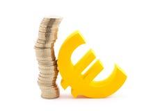 Монетки и символ евро Стоковая Фотография RF