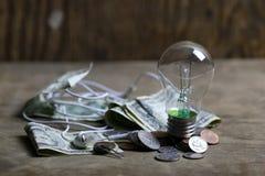 Монетки и скомканная нить лампы вольфрама денег стоковая фотография rf