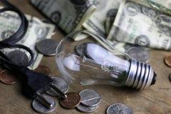 Монетки и скомканная нить лампы вольфрама денег стоковые фотографии rf
