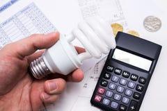 Монетки калькулятора и евро whit электрической лампочки Стоковое Изображение