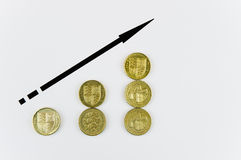 монетки колотят поднимать Стоковые Фотографии RF