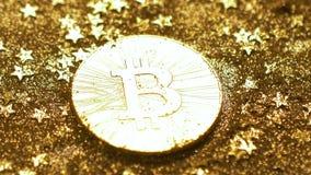 Монетки макроса сияющие созданные как виртуальное Cryptocurrency Bitcoin