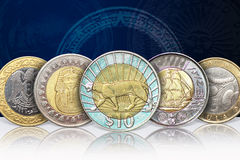 Монетки металла Bi Стоковое Изображение RF