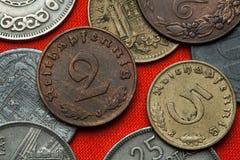 Монетки нацистской Германии Стоковые Изображения