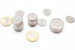 Монетки на белой предпосылке Стоковое Изображение RF