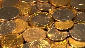 Монетки на вращая платформе акции видеоматериалы