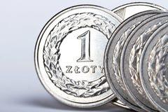 монетки один польский злотый Стоковая Фотография