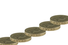 монетки один фунт Стоковые Изображения RF