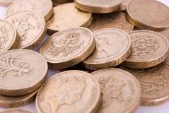 монетки один фунт Стоковое Изображение RF