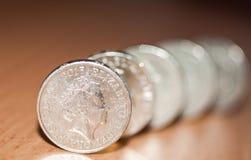 монетки один фунт Стоковые Фотографии RF
