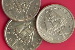 Монетки одного грека драхмы Стоковая Фотография
