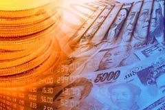 Монетки, панель и портреты валют торгуя/изображения известных руководителей на банкнотах, валюты самых доминантных стран иллюстрация вектора
