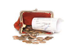Монетки, портмоне и получение стоковые фото