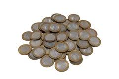монетки предпосылки изолировали белизну Стоковые Фотографии RF