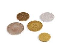 монетки предпосылки изолировали тунисскую белизну Стоковое Изображение RF
