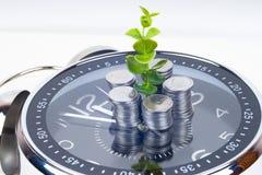 Монетки при завод и часы, изолированные на белой предпосылке Концепция сбережений Стоковое Фото