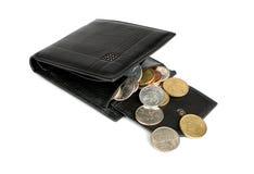 монетки раскрыли бумажник Стоковое фото RF