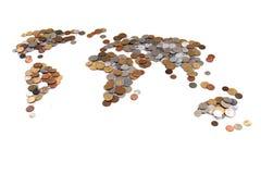 монетки Старого Мира как карта мира Стоковое фото RF