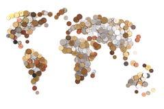 монетки Старого Мира как карта мира Стоковые Фотографии RF