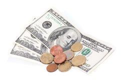 монетки счетов сверх Стоковое Изображение RF