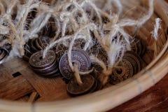 Монетки 1909 Таиланда старые Стоковая Фотография RF