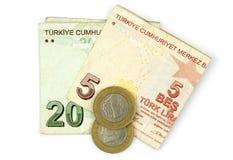 Монетки турецкой лиры и сложенные примечания Стоковая Фотография