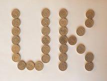 Монетки фунта Великобритании, Великобритания Стоковые Фото